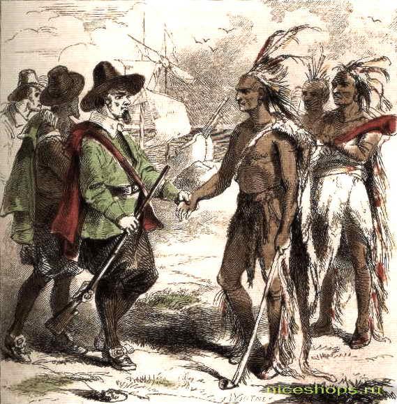 Встреча европейцев с индейцами во время открытия Америки