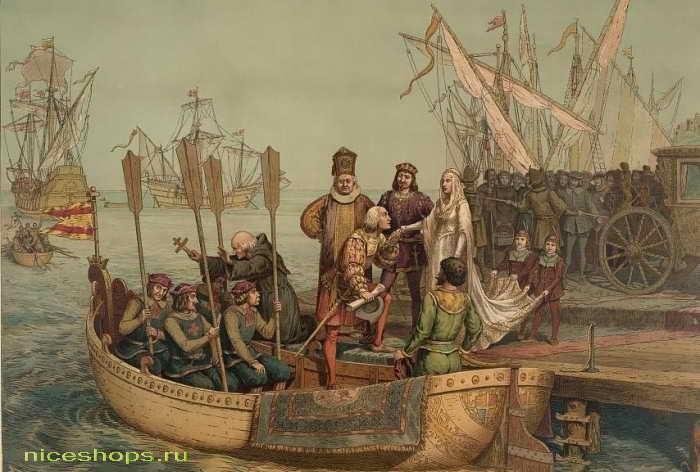 Колумб отчаливает из Испании на поиски Индии
