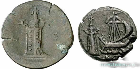 Древние монеты с изображением Александрийского маяка