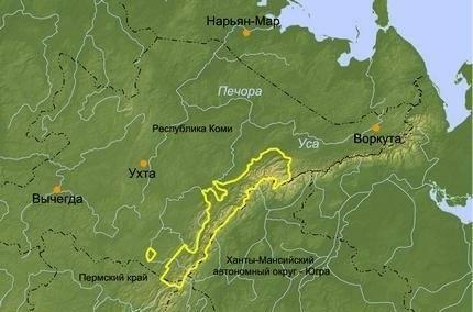 Девственные леса Коми на карте России