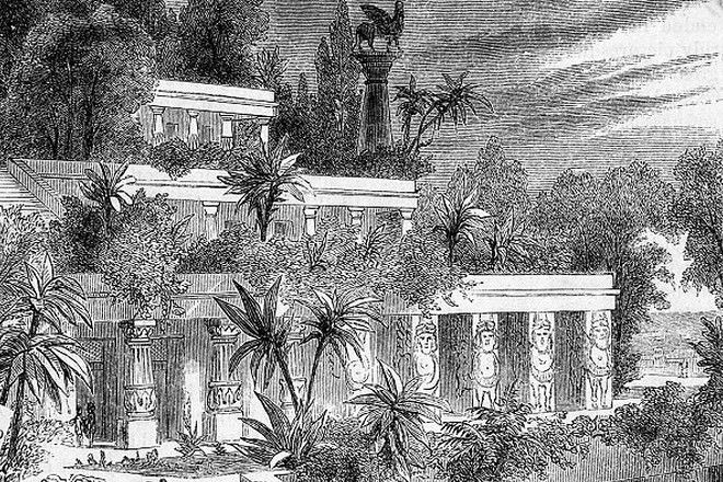 Гравюра с изображением висячих садов Семирамиды