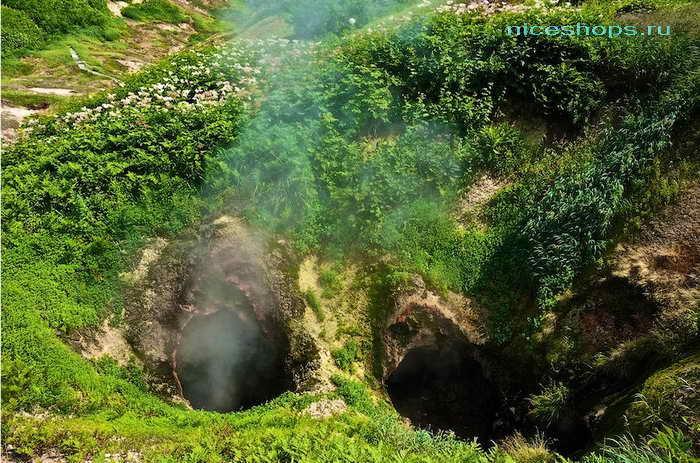 Жерла гейзеров на полуострове Камчатка