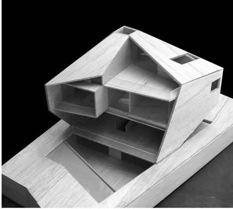Макет современного загородного коттеджа с панорамными окнами