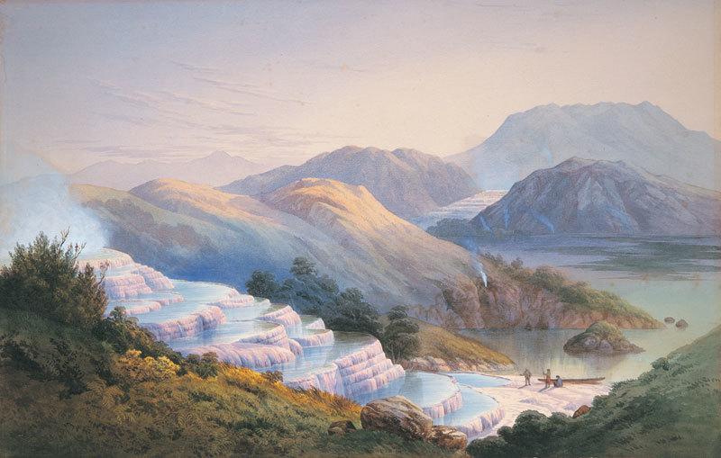 Розовые и белые террасы Новой Зеландии