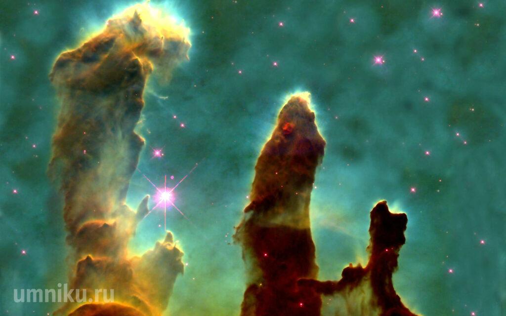 Столпы Творения в туманности Орел, фото с телескопа Хаббл