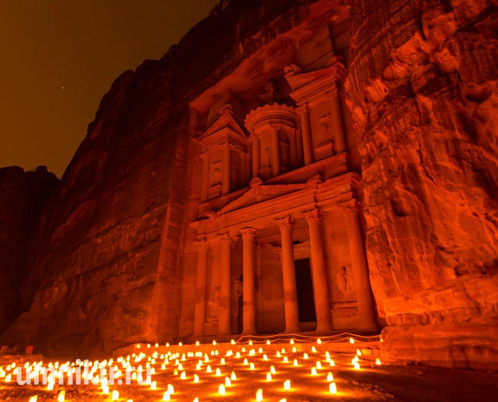 Эль-Хазне ночью, Петра, Иордания