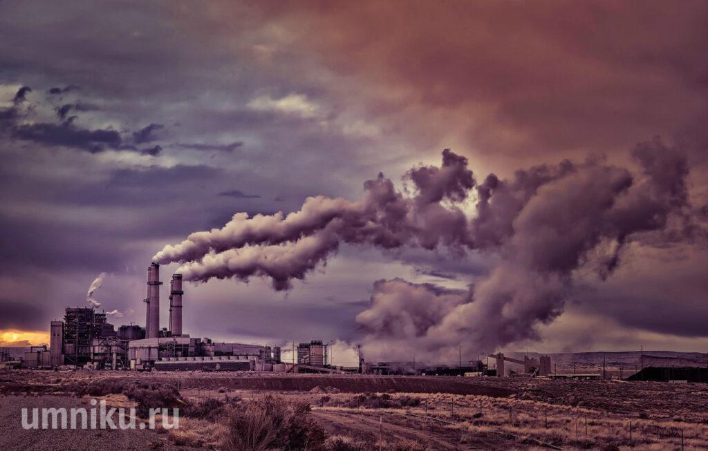 завод трубы дым загрязнение окружающей среды
